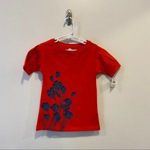 Tea Red Floral Dress  with navy graphic flowers